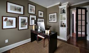 Lovely Decorative Apartment Paint Colors In Home Office Tropical Design Ideas With  Decorative Black Door Brown Walls Crown Boulding Dark Wood Desk Dark Wood  ...