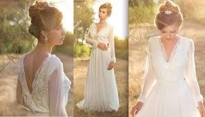 discount simple long sleeve boho wedding dresses deep v neck