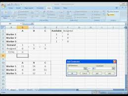 or ms excel solver assignment problem  or ms excel solver assignment problem
