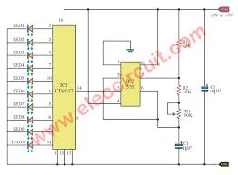 led chaser circuit with pcb layout eleccircuit com Wiring Diagram Symbols at 4017 Wiring Diagram
