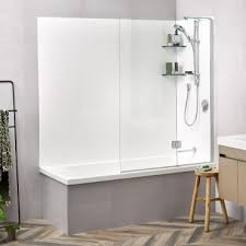 solace 1800 flat wall shower over bath allora swing panel rrp 2150