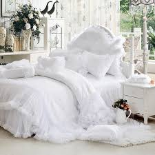 white queen quilt set. Interesting Queen Luxury White Falbala Ruffle Lace Bedding Set Twin Queen King Size  For Girl Princess Duvet Cover Set Bedspread Bedskirtin Bedding Sets From Home  Intended White Queen Quilt Set A