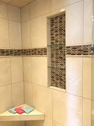 tile shower shelves tile shower with mixed tile insert and glass shelves tile shower corner shelf home depot