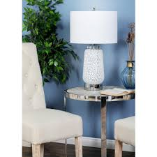 white textured glass jar table lamp with drum shade