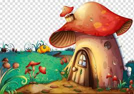 Fantasy Land Orange Mushroom House Illustration