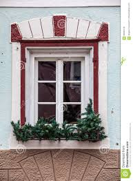 Outside Window Decorations Old Window With Decorations And Potted Plants Stock Photo Image