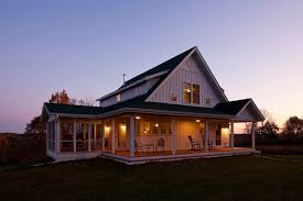 Unique Farmhouse for Mid Size Family w  Porch  HQ Plans  amp  Pictures    As evening sets in