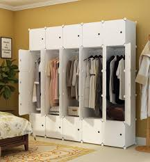 portable wardrobe closet for hanging clothes combination armoire modular cabinet for space saving white 10 cubes 5 hanging sections canada 2019 from