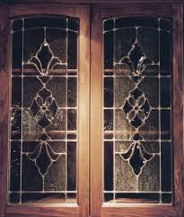 image of leaded glass kitchen cabinet door inserts