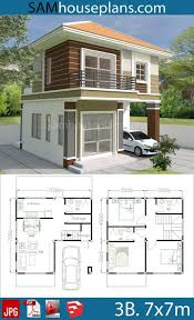 House Plans 7x7m with 3 Bedrooms - Sam House Plans | Small house design,  House plans, Home design plans