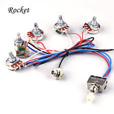 electric guitar wiring harness kit 2v2t with pot jack 3 way switch Custom Guitar Wiring Harness electric guitar wiring harness kit 2v2t with pot jack 3 way switch for gibson les paul