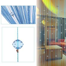 decorative string curtain beads wall panel fringe room door window blue