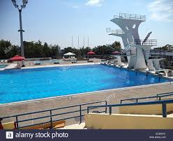 High Diving Board At A Public Swimming Pool.  Alamy