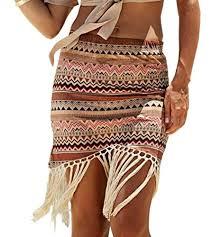 Jeasona Womens Bathing Suits Cover Ups For Swimwear Short Beach Swim Summer Rip Skirt Brown M