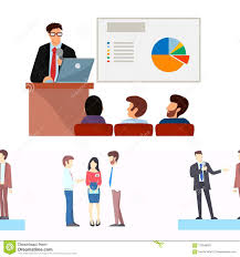Business People Vector Groups Presentation To Investors Conferense