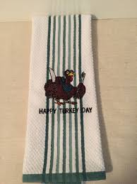 Mini Turkey Embroidery Design Embroidered Happy Turkey Day Kitchen Towel By