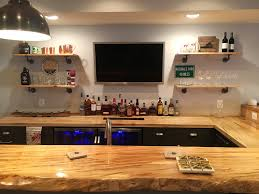 bar top lighting. Home Bar In Finished Basement With Natural Edge Wood Top Lighting S