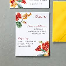 Details Insert Card The Bianca Suite Orange And Yellow Watercolor Floral Wedding