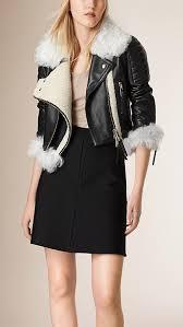women biker black leather faux fur jacket
