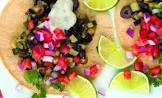 black bean  zucchini    olive tacos