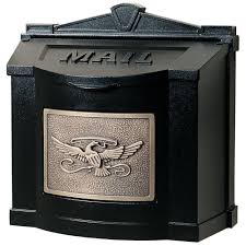 wall mount residential mailboxes. Eagle Accent Wall Mount Mailbox Black With Antique Bronze Residential Mailboxes