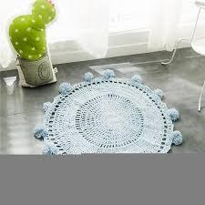 ins 80cm diameter gray crochet rug round rug area rug for living room door kids rug