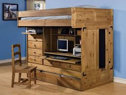 full size loft bed with desk and storage brown wooden laminated white metal loft bed dark