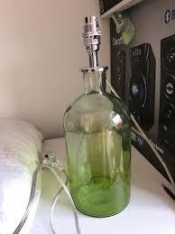 green glass bottle lamp base