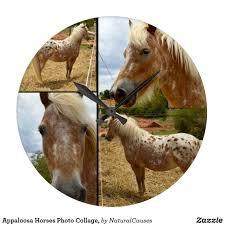 appaloosa horses photo collage large clock