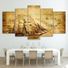 office canvas art. Old World Map With Ship For Living Room Office Canvas Panel Wall Art Framed UNframed