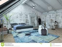Schlafzimmer Mit Gewölbter Decke Und Zerknittertem Teppich Stock