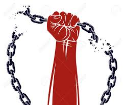 Strong Hand Clenched Fist Fighting For Freedom Against Chain