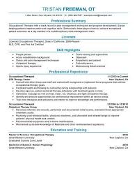 Occupational Therapist Job Description Simple Occupational Therapy Sample Resumes Trisamoorddinerco
