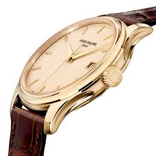 calatrava 18ct yellow gold ivory dial men 039 s automatic leather strap watch
