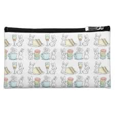 bunnies at afternoon tea makeup bag