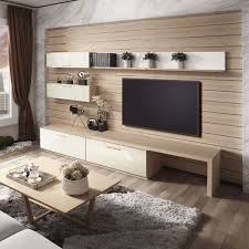 this could be the whole wall, to also include that bed that drops  down.---Elegent OPPEIN Wooden Grain Flat Laminate Leather TV Cabinet - TV  Wall Mount Ideas ...