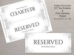 reserved sign templates diy printable wedding reserved sign template editable ms word file