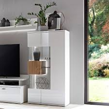 Ideal Möbel Canberra Vitrine Type 04 Für Ihr Wohnzimmer Oder Esszimmer Moderne Standvitrine Mit Zwei Glastüren Mit Korpus In Weiß Mit Hochglanzfronten