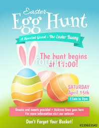 easter egg hunt template cute poster for easter egg hunt with colored eggs and ears of a