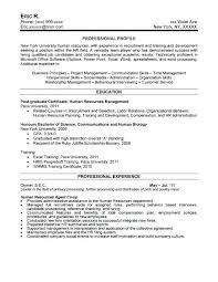 Resume Objective Examples Entry Level Human Resources 22 Hr