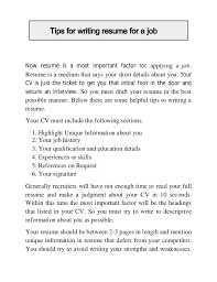 Tips On Writing Resume Tips For Writing Resume For A Job