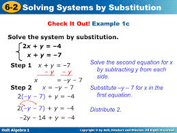 example 1c solve the system by substitution 2x y