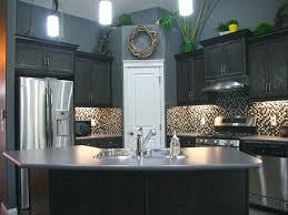 Kitchen Dark Brown Cabinets With Gray Walls Monsterlune