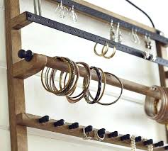 hanging necklace holder pine iron wall mounted jewelry hanger pottery barn hanging jewelry holder with mirror