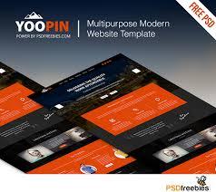 Free Modern Templates Yoopin Multipurpose Modern Website Template Free Psd Psdfreebies Com