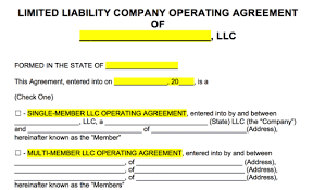 Free Llc Operating Agreement Templates Pdf Word Eforms Free