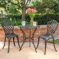 black iron patio furniture la black with bronze 3 piece metal round outdoor bistro set