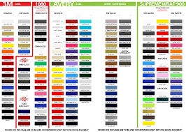 All Inclusive Avery Graphics Vinyl Color Chart 2019