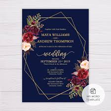 Microsoft Office Wedding Invitation Template Navy Blue With Marsala Flowers Gold Frame Wedding Invitation Template