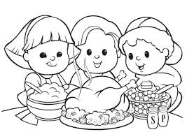Thanksgiving Coloring Pages With Tablecloth Also Free Printable